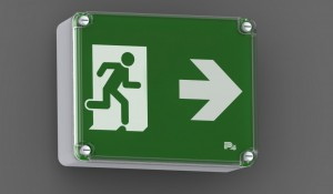 P4 Fastel Emergency Exit Sign BETA IP65 wall mounted