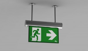 P4 Fastel Emergency Exit Sign OMIKRON Ceiling Mounted