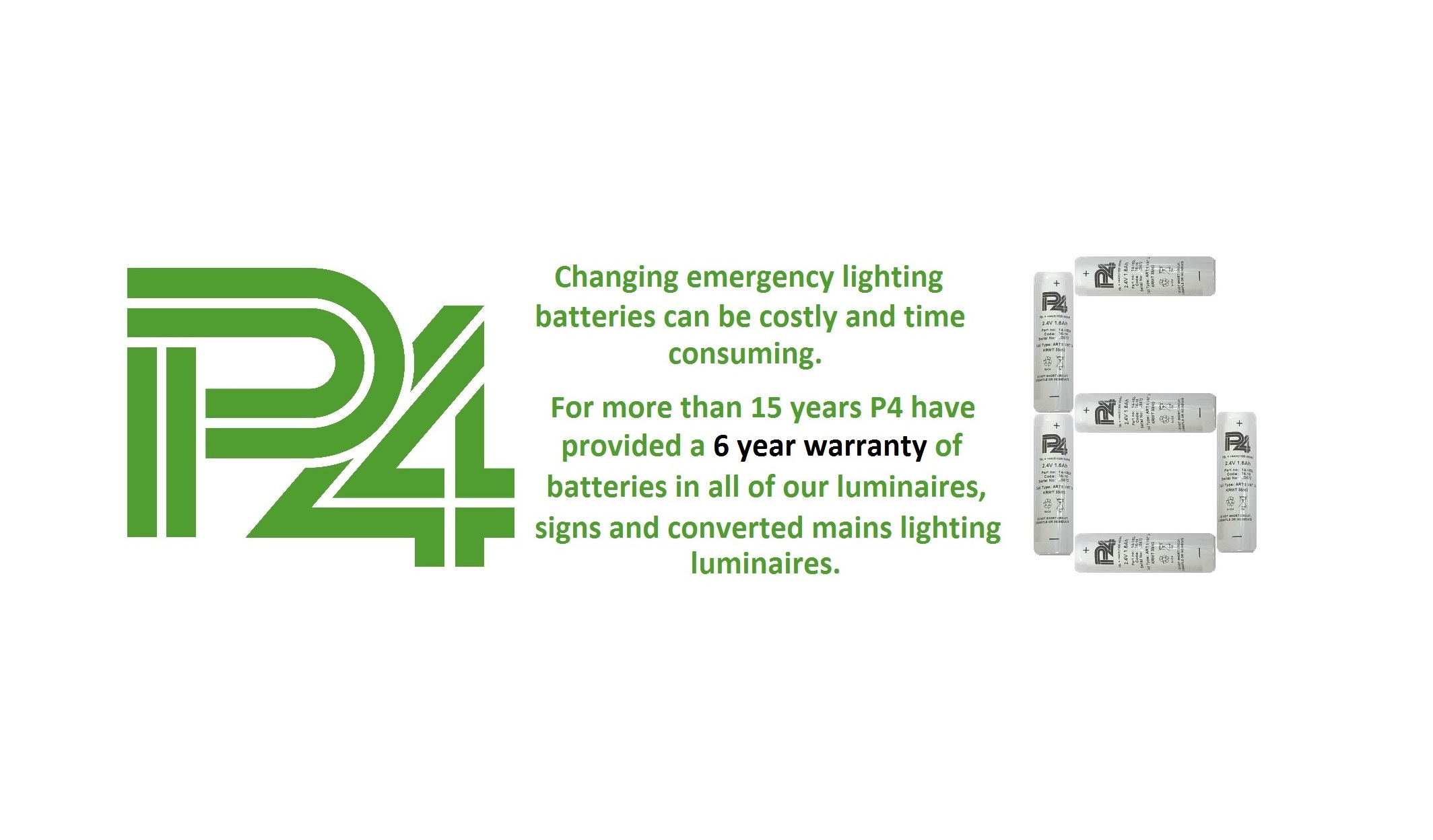 P4 6 year warranty on emergency lighting batteries banner